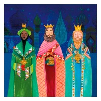Servilletas papel navideñas estampado Reyes Magos de Oriente Holy Three Kings PPD 33x33cm