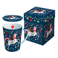 Mug decorado con tapa con Unicornio navideño Happy Unicorn PPD 25cl