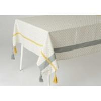 Mantel algodón arabesco línea mostaza Camelia 150x250 cm