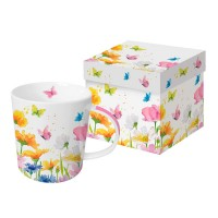 Mug decorado con flores y mariposas colores primavera Happy Spring PPD 35cl