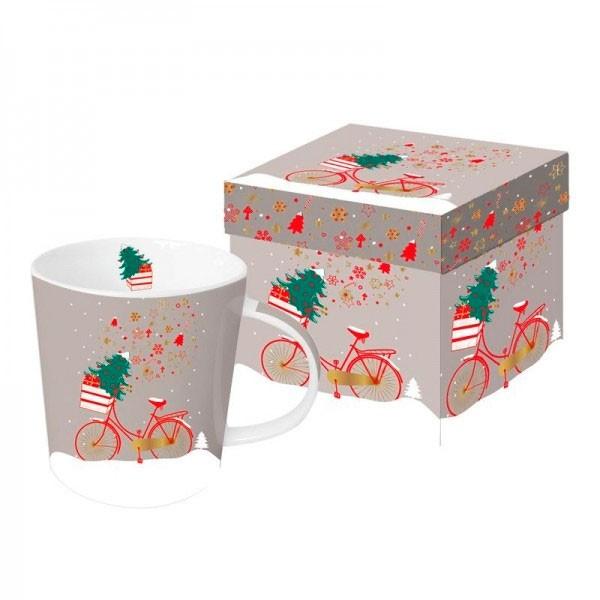 Mug decorado con bicicleta navideña Xmas Bike taupe PPD 35cl