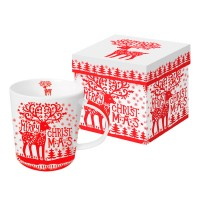 Mug decorado blanco y rojo reno Navidad Merry Deer red PPD 35cl