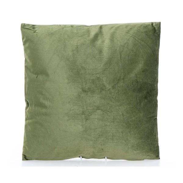 Cojín cuadrado con relleno terciopelo verde 45x45cm