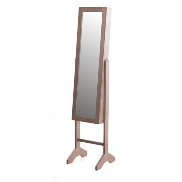 Espejo madera marrón joyero con pie 35x35x153h cm