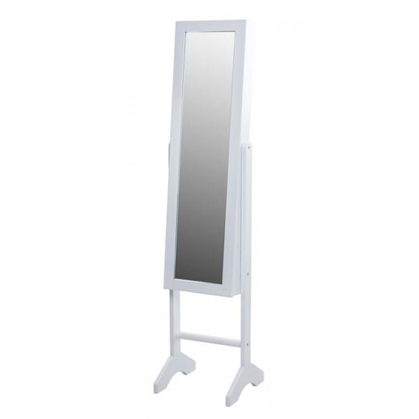 Espejo madera blanco joyero con pie 35x35x153h cm
