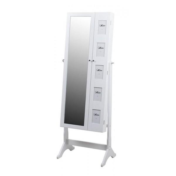 Espejo madera blanco joyero con pie y 5 marcos de fotos 53x38x153h cm