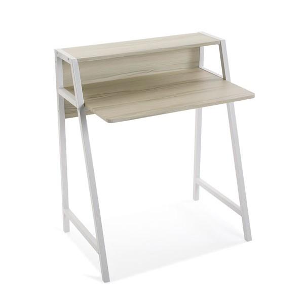 Mesa escritorio con mdf color madera y patas blancas con balda Brest 75x50,5x89h cm