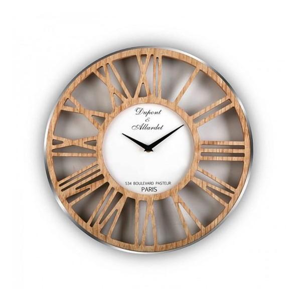 Reloj de pared marco aluminio plata y números en madera Ø40 cm