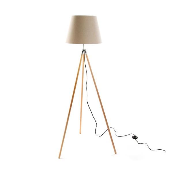 Lámpara de pie madera trípode y pantalla beige 38x141h cm