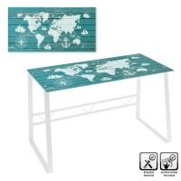 Mesa escritorio cristal templado Mapa Mundi estampado en blanco y verde agua 120x60x75cm