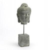 Figura cemento cabeza Buda con peana 28h cm