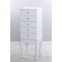 Mueble joyero mdf blanco espejo y 4 cajones 34x28x92h cm