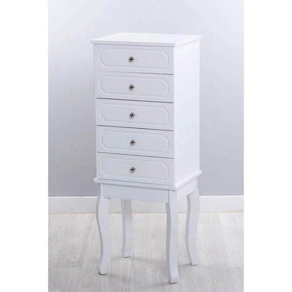 Mueble joyero mdf blanco espejo y 4 cajones 34x28x92h cm - Mueble espejo joyero ...