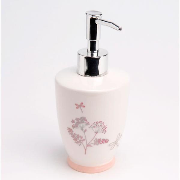 Dispensador jabón baño porcelana estampado flores y libélulas