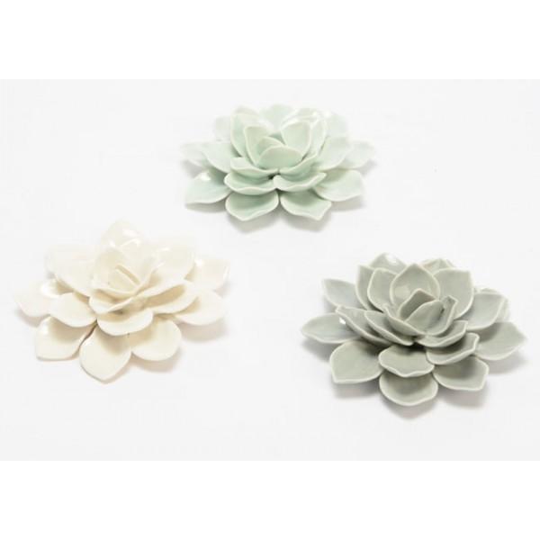 Flor decorativa cerámica Clasico 3 colores blanca, verde y gris Ø10 cm