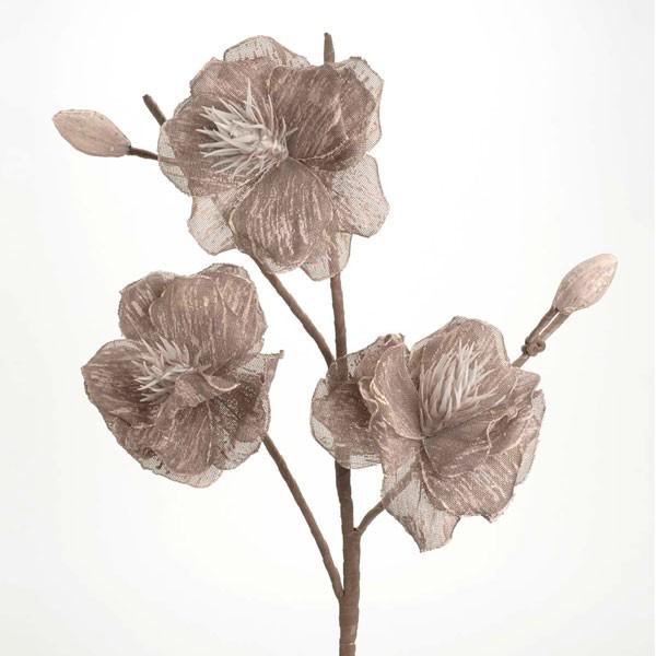 Flor foam y tela topo tallo con 3 flores 90h cm