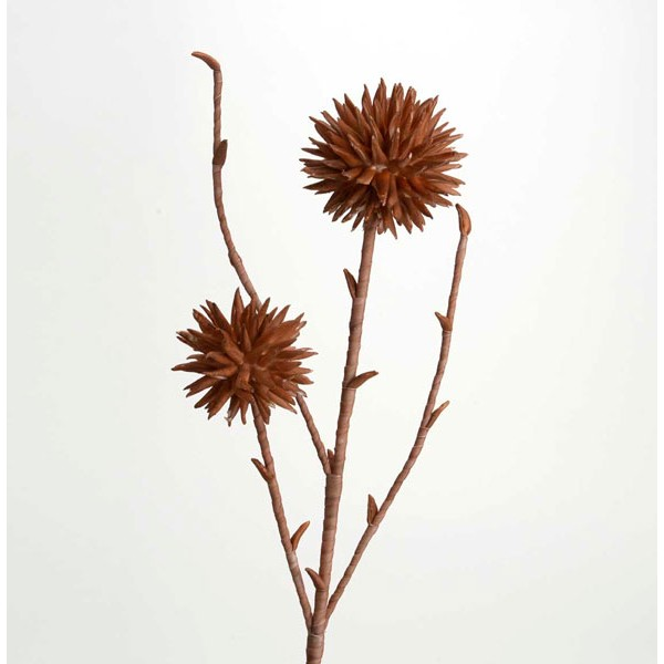 Flor foam marrón tallo con 2 flores pétalos alargados Artisa 80h cm