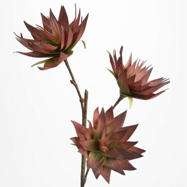 Flor foam tallo con 3 flores pétalos verdes y granate Naturalia 80h cm