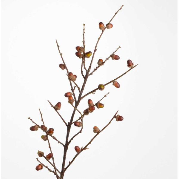 Rama árbol artificial marrón con bellotas 93h cm