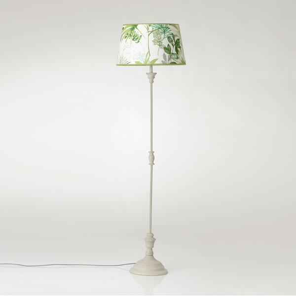 Lámpara de pie metal decapado pantalla lino hojas palmera verdes Ø45x166h cm