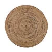 Alfombra redonda yute marrón rayas Ø120 cm