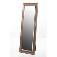 Espejo marco resina efecto madera oscura relieve detalle clásico hojas con pie soporte 40x150cm