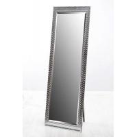 Espejo marco resina color plata relieve con pie soporte 40x150 cm