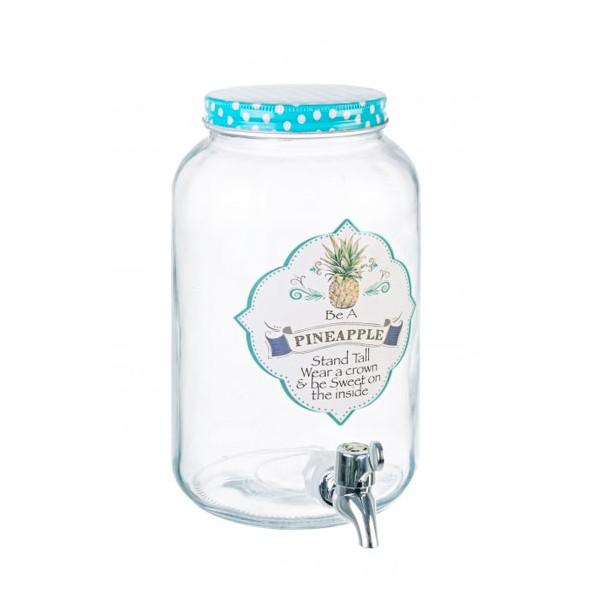 Garrafa bote dispensador de bebidas con grifo en vidrio Pineapple 3 litros Ø14x26h cm