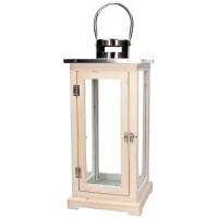 Farol cuadrado madera blanca y cristal con tapa metálica Mirabell Tognana 20x20xh45cm