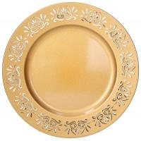 Bajo plato resina redondo dorado borde filigrana calada Tognana 33cm