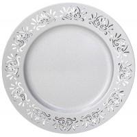 Bajo plato resina redondo plata borde filigrana calada Tognana 33cm
