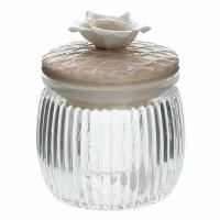 Bote cristal con tapa cerámica beige con flor Net Tognana 16cl Ø8x9,5h cm