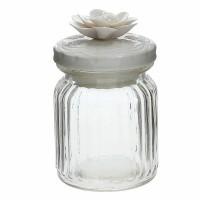 Bote cristal con tapa cerámica blanca dibujada con flor Tognana Collar 29cl Ø7,5x12h cm