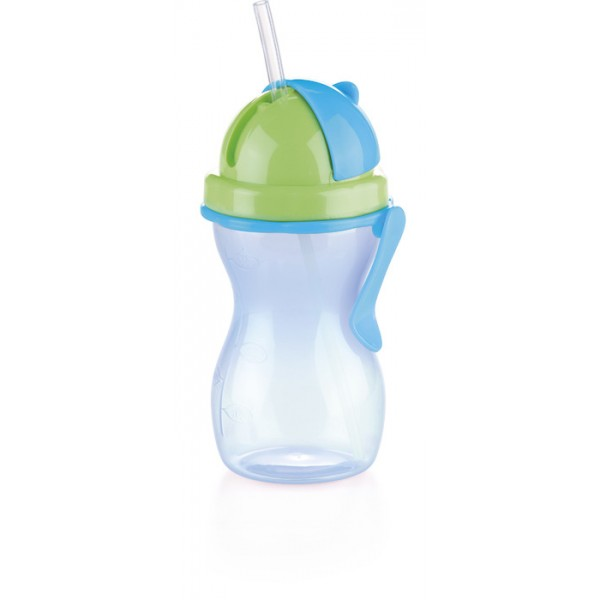 Botella para niños con tapa y cañita 300 ml Bambini Azul