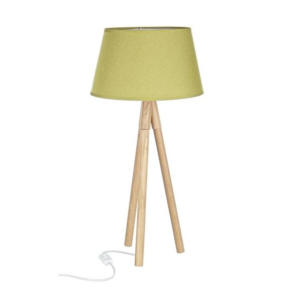 Lámpara de sobremesa pie madera trípode y pantalla verde Wallas 33x69h cm