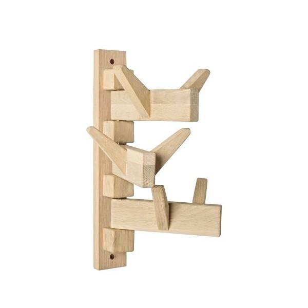 Perchero de pared en madera con 6 colgadores moviles Daiki