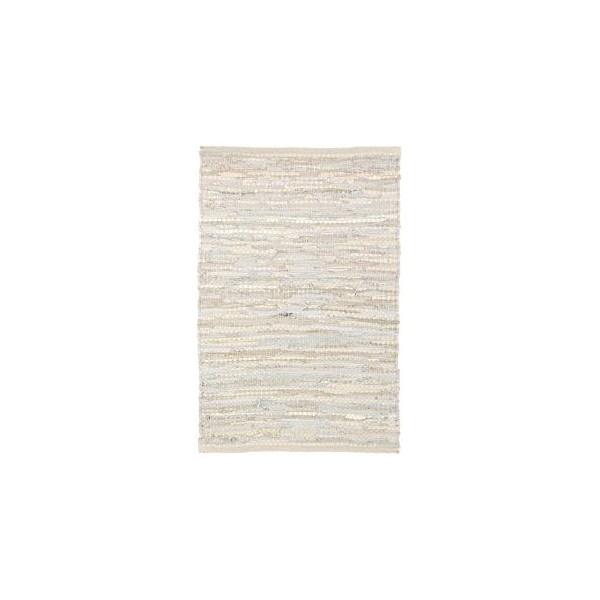 Alfombra algodón y piel tonos grises entrelazada Helen 60x90 cm