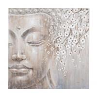 Lienzo cuadro cara Buda y rama cerezo con flores en relieve 100x100 cm