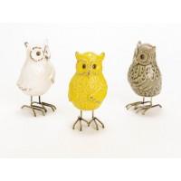 Figura cerámica Buho patas metálicas 3 colores: blanco, marrón y amarillo Alice 8x14h cm