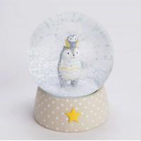 Bola de nieve infantil beige con lunares oso y buho Hibou&Cie