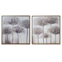 Lienzo cuadro flores tonos grises marco dorado 2 modelos 60x60cm