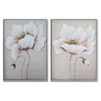 Lienzo cuadro flor blanca y beige marco blanco 2 modelos 53x73h cm