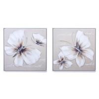 Lienzo cuadro mariposa blanca y beige marco blanco 2 modelos 63x63h cm