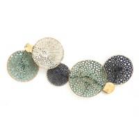 Cuadro adorno pared metálico círculos dorado, azul y verde 25x3x61h cm