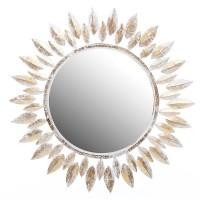 Espejo redondo madera marco blanco y dorado forma sol Ø90 cm