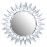 Espejo redondo madera marco blanco y plata forma sol Ø90 cm
