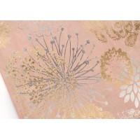 Lienzo cuadro apaisado fondo beige y flores oro y plata 90x40h cm