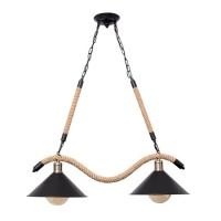 Lámpara colgante metálica negra doble y cuerda de cañamo Grand Soga 30x81x70-94h cm