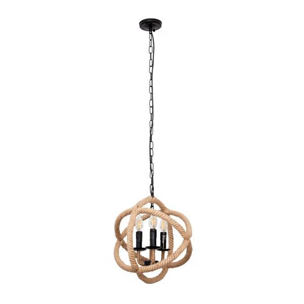 Lámpara colgante metálica negra 3 bombillas al aire y cuerda Serie Soga 35x75h cm