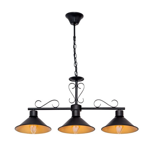 Lámpara colgante metálica negra triple Serie Buhardilla 88x67,50h cm